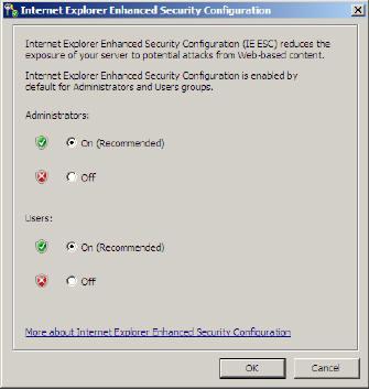 IE ESC options